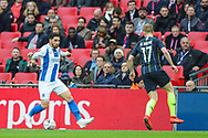 Brighton & Hove Albion forward Alireza Jahanbakhsh (16) and Manchester City midfielder Kevin De Bruyne (17) during the The FA Cup semi-final match between Manchester City and Brighton and Hove Albion at Wembley Stadium, London, England on 6 April 2019.