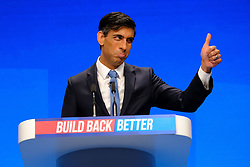 © Licensed to London News Pictures. 03/10/2021 Manchester, UK. Chancellor Rishi Sunak speaking Conservative Party Conference. Photo credit: Jess Hurd/LNP
