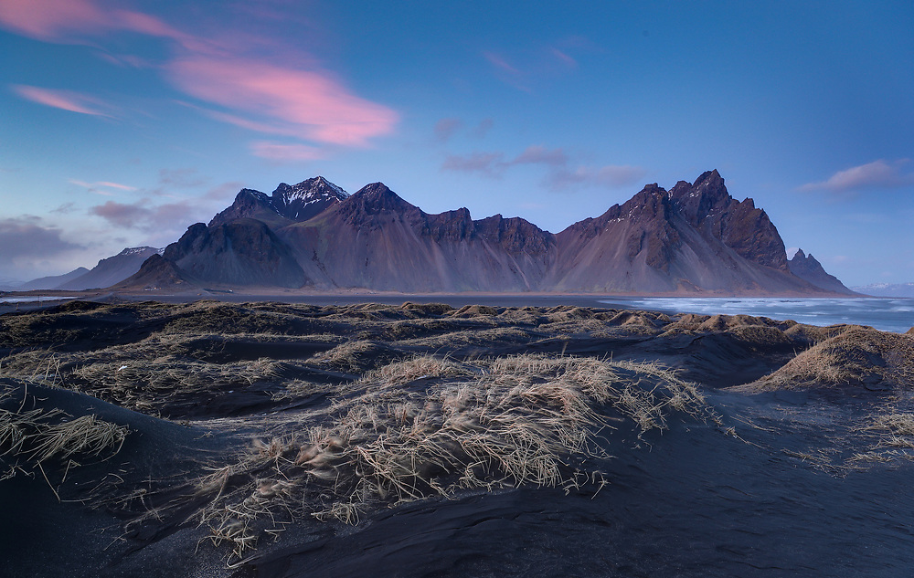 Vestrahorn, on the Stokksnes peninsula in Southeast Iceland, has mountains with peaks reaching up to 454 metres (1490 ft), steep cliffs rising from the sides of a stunning lagoon, and black sand beaches. Photo/Andrew Shurtleff Photography, LLC
