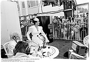 Joan Collins and members of the public at Derby Day. Epson. 4/6/86 Film 86407f24<br />© Copyright Photograph by Dafydd Jones<br />66 Stockwell Park Rd. London SW9 0DA<br />Tel 0171 733 0108 dafjones.com