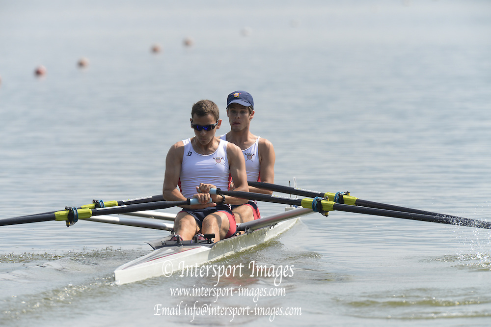 Linz. AUSTRIA.  USA. LM2X. Bow, Thomas HOPE and Matthew MADDAMMA, competing in the  FISA U23 World Championships, Linz-Ottensheim Rowing Course.  10:38:41  Thursday  25/07/2013.[Mandatory Credit, Peter Spurrier/ Intersport Images]