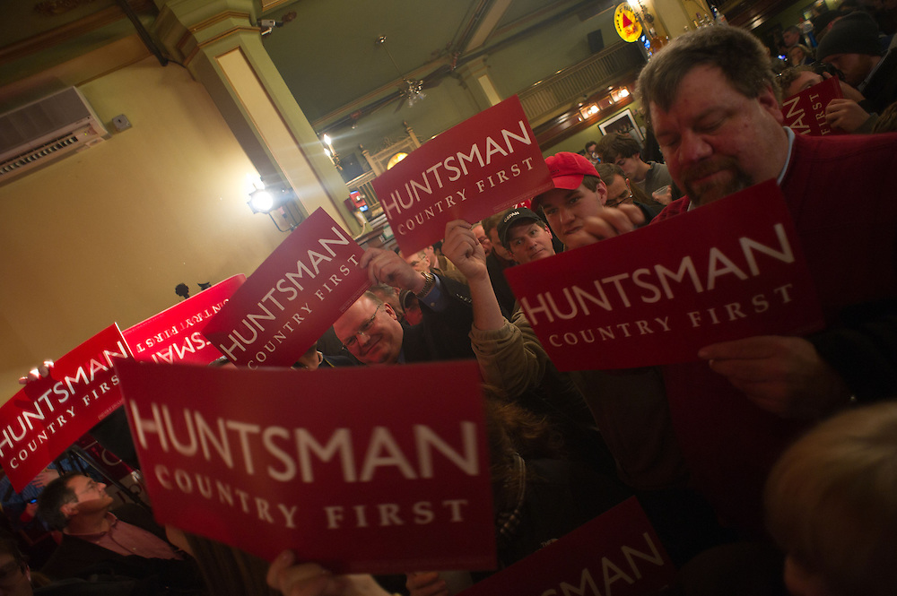 The gets pumped up before GOP Presidential candidate John Huntsman arrives at his election night campaign event at The Black Brimmer Bar on Tuesday, Jan. 10, 2012 in Manchester, NH. (Photo by Jay Westcott/Politico)