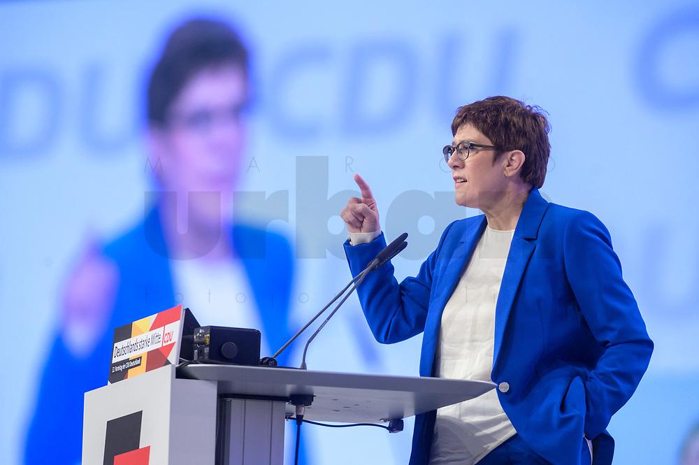 22 NOV 2019, LEIPZIG/GERMANY:<br /> Annegret Kramp-Karrenbauer, CDU Bundesvorsitzende und Bundesverteidigungsministerin, haelt eine Rede, CDU Bundesparteitag, CCL Leipzig<br /> IMAGE: 20191122-01-081<br /> KEYWORDS: Parteitag, party congress