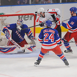 May 12, 2012: Washington Capitals center Brooks Laich (21) screens New York Rangers goalie Henrik Lundqvist (30) for a goal during third period action in game 7 of the NHL Eastern Conference Semi-finals between the Washington Capitals and New York Rangers at Madison Square Garden in New York, N.Y. The Rangers defeated the Capitals 2-1.