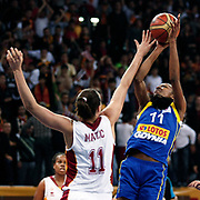 Lotos Gdynia's Geraldine ROBERT (R) during their woman Euroleague group A matchday 5 Galatasaray between Lotos Gdynia at the Abdi Ipekci Arena in Istanbul at Turkey on Wednesday, November 09 2011. Photo by TURKPIX