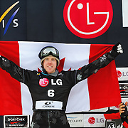 Mike Robertson (CAN) celebrates his silver medal performance during the awards ceremony for the Snowboard-Cross event at the LG Snowboard World Cup held at Cypress Mountain, British Columbia on February 13th, 2009. Mandatory Photo Credit: Bella Faccie Sports Media\Thomas Di Nardo. Contact: Thomas Di Nardo, Snohomish, Washington, USA. Telephone 425-260-8467. e-mail: tom@bellafaccie.com