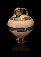 Mycenaean styrup jar from the House of the oil merchant, Mycenae Acropolis 14-13thj Cent BC. National Archaeological Museum Athens. Cat No 7626.  Black Background .<br /> <br /> If you prefer to buy from our ALAMY PHOTO LIBRARY  Collection visit : https://www.alamy.com/portfolio/paul-williams-funkystock/mycenaean-art-artefacts.html . Type -   Athens    - into the LOWER SEARCH WITHIN GALLERY box. Refine search by adding background colour, place, museum etc<br /> <br /> Visit our MYCENAEN ART PHOTO COLLECTIONS for more photos to download  as wall art prints https://funkystock.photoshelter.com/gallery-collection/Pictures-Images-of-Ancient-Mycenaean-Art-Artefacts-Archaeology-Sites/C0000xRC5WLQcbhQ