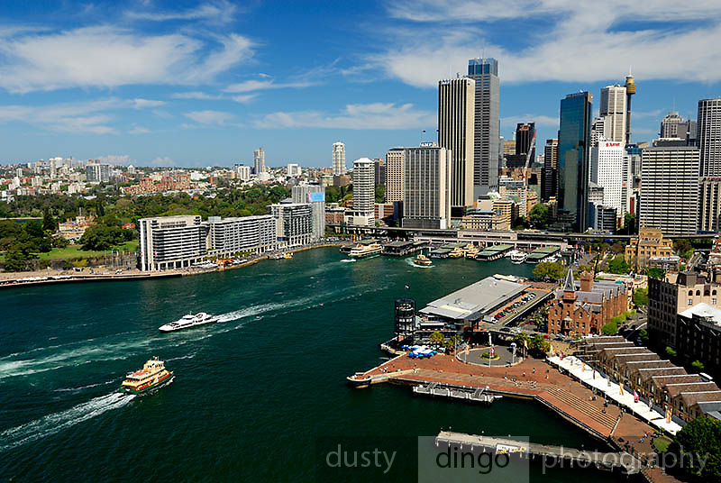 Aerial view of Circular Quay and the Sydney city skyline. Sydney, Australia