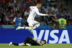 (l-r) Cristiano Ronaldo of Portugal, Nahitan Nandez of Uruguay during the 2018 FIFA World Cup Russia round of 16 match between Uruguay and at the Fisht Stadium on June 30, 2018 in Sochi, Russia