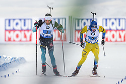 March 16, 2019 - –Stersund, Sweden - 190316 Simon Desthieux of France and Sebastian Samuelsson of Sweden  competes in the Men's 4x7,5 km Relay during the IBU World Championships Biathlon on March 16, 2019 in Östersund..Photo: Petter Arvidson / BILDBYRÃ…N / kod PA / 92269 (Credit Image: © Petter Arvidson/Bildbyran via ZUMA Press)
