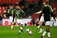 Jadon Sancho of England warms up during the International Friendly match between England and USA at Wembley Stadium, London, England on 15 November 2018.