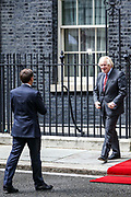 British Prime Minister Boris Johnson, right, meets with French President Emmanuel Macron at 10 Downing Street in London, Thursday, June 18, 2020. The President of the French Republic visits London to celebrate the 80th anniversary of General de Gaulle's 'Appel' to the French population to resist the German occupation of France during WWII. (Photo/ Vudi Xhymshiti)