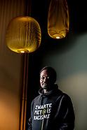portret van AMSTERDAM - portret  van Jerry Afriyie . Daar protesteerden activisten van Kick Out Zwar