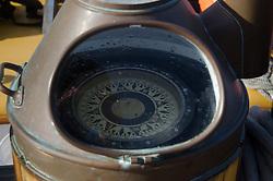 Compass on Deck of SV Maple Leaf, Gulf Islands, British Columbia, Canada