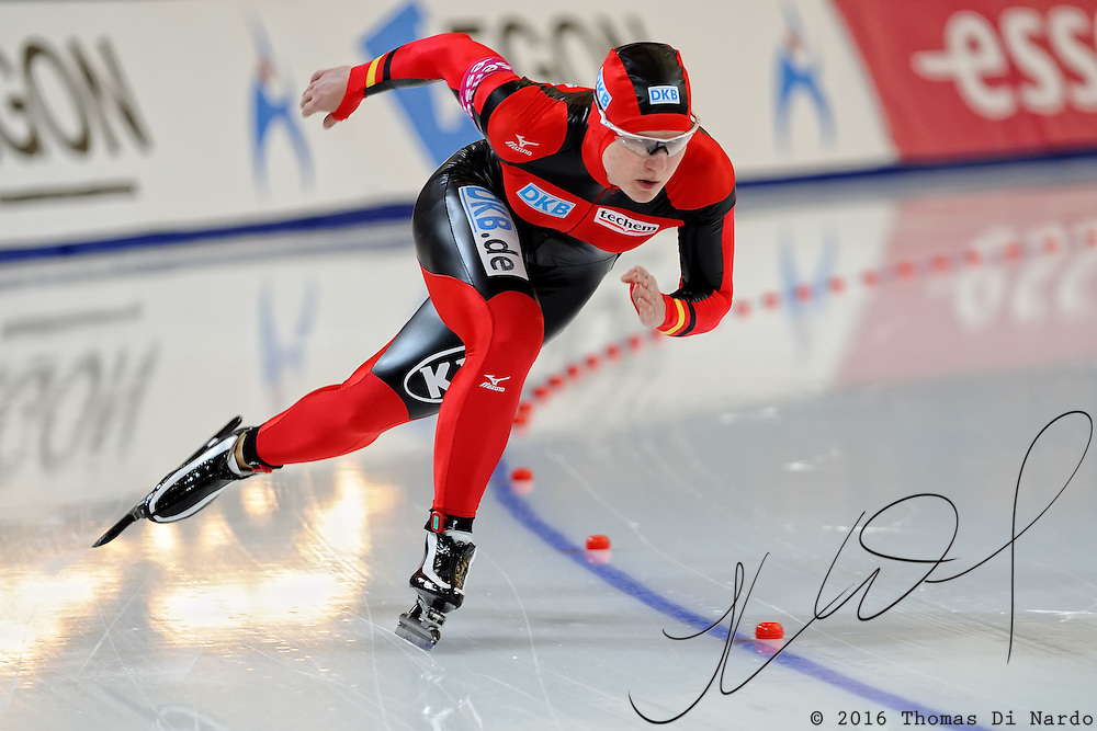Jenny Wolf (GER) competes in the ladies 500m event at the 2009 Essent ISU World Single Distances Speed Skating Championships. Wolf was the overall winner in the 500m distance earning the gold medal.