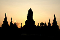 Wat Chaiwattanaram silhouette at sunset - Wat Chaiwattanaram is one of Ayutthaya's most beautiful temples - construction began in 1630 at the request of King Prasat Thong for the memorial of his mother. The temple's name literally means the Temple of Long Reign and Glorious Era.