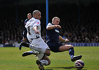Photo: Tony Oudot/Richard Lane Photography. <br /> Southend United v Swansea City. Coca-Cola League One. 21/03/2008. <br /> Darren Pratley of Swansea gets in a shot past Peter Clarke of Southend