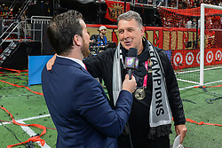 December 8, 2018 - Atlanta, GA, U.S. - ATLANTA, GA Ð DECEMBER 08:  Atlanta United head coach Gerardo Martino (right) is interviewed during the post-game celebration following the conclusion of the MLS Cup between the Portland Timbers and Atlanta United FC on December 8th, 2018 at Mercedes-Benz Stadium in Atlanta, GA.  (Photo by Rich von Biberstein/Icon Sportswire) (Credit Image: © Rich Von Biberstein/Icon SMI via ZUMA Press)
