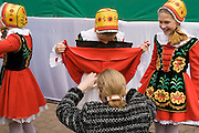 Moscow, Russia, 30/09/2006.&#xA;Children prepare to go onstage at festival in Lefortovo Park to celebrate the 350th birthday of Franz Lefort<br />