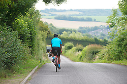 ©Licensed to London News Pictures 13/07/2020     <br /> Swanley, UK. No commute for this man just a relaxing bike ride near Eynsford in Kent. People get back to work using the car as more and more of the workforce come out of coronavirus lockdown this morning. Photo credit: Grant Falvey/LNP