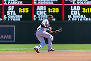 Pedro Florimon #25 of the Minnesota Twins catches a line drive for an out against the Seattle Mariners on June 2, 2013 at Target Field in Minneapolis, Minnesota.  The Twins defeated the Mariners 10 to 0.  Photo: Ben Krause