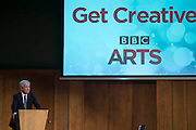 Lily Cole and Johnny Vegas launch Get Creative, a celebration of the nation's arts culture and creativity. Led by the BBC and What Next? in collaboration with a huge range of arts organisations, it invites everyone to have a go and share their creative talents, with the aim to boost creativity in the UK, as well as celebrating the millions of people already doing something artistic and creative everyday. Get Creative's aim is to encourage as many people as possible to engage even more deeply and widely with the arts. And for those who don't yet see the arts as part of their lives, it will offer an invitation to get involved. Set out like a village hall, Conway Hall is transformed into a festival of creativity for the launch, with members of Voluntary Arts and celebrities demonstrating various arts activities including pottery, Indian dance hand bells, felt making, mosaic work, origami and jewelry making. Conway Hall, Red Lion Square, London 19 Feb 2015.