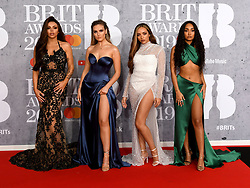 February 21, 2019 - London, London, United Kingdom - Image licensed to i-Images Picture Agency. 20/02/2019. London, United Kingdom. Little Mix arrive at the Brit Awards in London. (Credit Image: © i-Images via ZUMA Press)