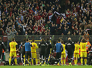Wales' fans celebrate at the final whistle<br /> <br /> - European Qualifier - Belgium vs Wales- Heysel Stadium - Brussels - Belgium - 16th November 2014  - Picture David Klein/Sportimage