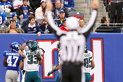 Philadelphia Eagles tight end Trey Burton #47  is congratulated by teammates after carrying the ball for a touchdown after recovering a blocked punt during the NFL game between the Philadelphia Eagles and the New York Giants at MetLife Stadium in East Rutherford, New Jersey on Sunday, December 24th 2014. The Eagles won 34-26. (Brian Garfinkel/Philadelphia Eagles)