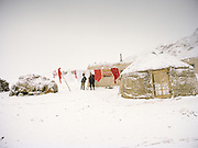 """Leaving campment of the """"second"""" Sary Tash. Ustad's Ghulam's camp..Winter expedition through the Wakhan Corridor and into the Afghan Pamir mountains, to document the life of the Afghan Kyrgyz tribe. January/February 2008. Afghanistan"""