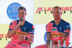 March 22, 2019 - Jaipur, Rajasthan, India - Rajasthan Royals players Steve Smith and  Ben Strokes  addressing the media person during the team jersey unveiled ceremony ahead the IPL 2019 matches  in Jaipur, Rajasthan, India  on March 22,2019. (Credit Image: © Vishal Bhatnagar/NurPhoto via ZUMA Press)