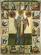 St Nicholas (early 4th century) and scenes from his life. 15th-16th century Russian icon. Russian Museum, St Petersburg.