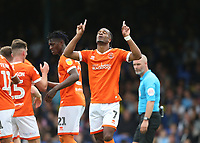 Blackpool's Nathan Delfouneso celebrates scoring his side's third goal<br /> <br /> Photographer Rob Newell/CameraSport<br /> <br /> The EFL Sky Bet Championship - Southend United v Blackpool - Saturday 10th August 2019 - Roots Hall - Southend<br /> <br /> World Copyright © 2019 CameraSport. All rights reserved. 43 Linden Ave. Countesthorpe. Leicester. England. LE8 5PG - Tel: +44 (0) 116 277 4147 - admin@camerasport.com - www.camerasport.com