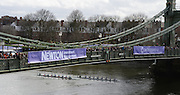 London, Great Britain.<br /> Both Women's Crews approaching Hammersmith Bridge, during the  2016 Varsity Boat Race. Championship Course Mortlake to Putney. River Thames. Sunday  27/03/2016<br /> <br /> [Mandatory Credit: Intersport images]