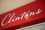 Sign for the cards brand Clintons in Birmingham, United Kingdom.