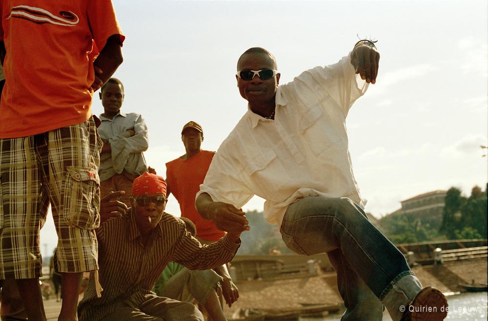 Local youth perform streetdance in Kampala city, Uganda