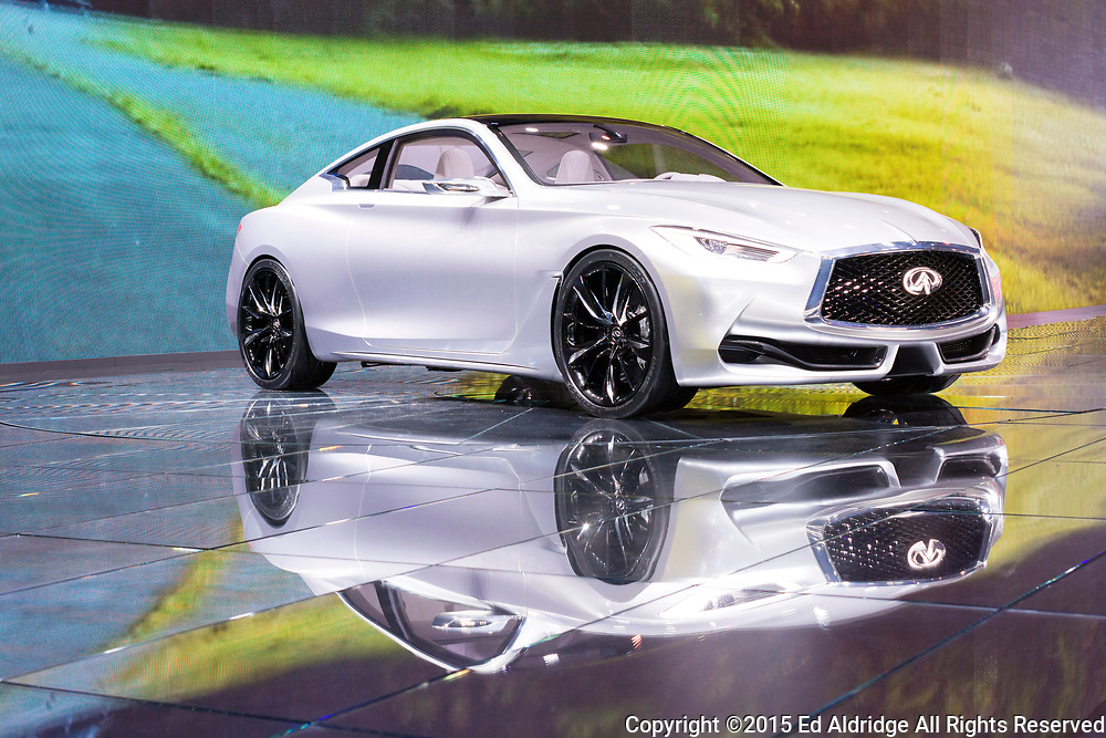DETROIT, MI, USA - JANUARY 12, 2015: Infinity Q60 coupe on display during the 2015 Detroit International Auto Show at the COBO Center in downtown Detroit.