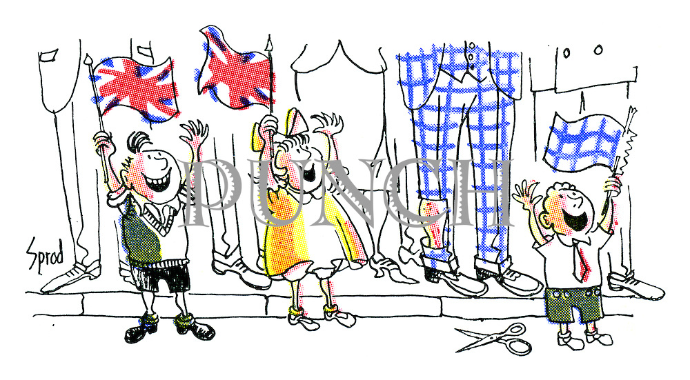 Children waving their Union Jack flags for Queen Elizabeth's coronation, with one boy making his own flag