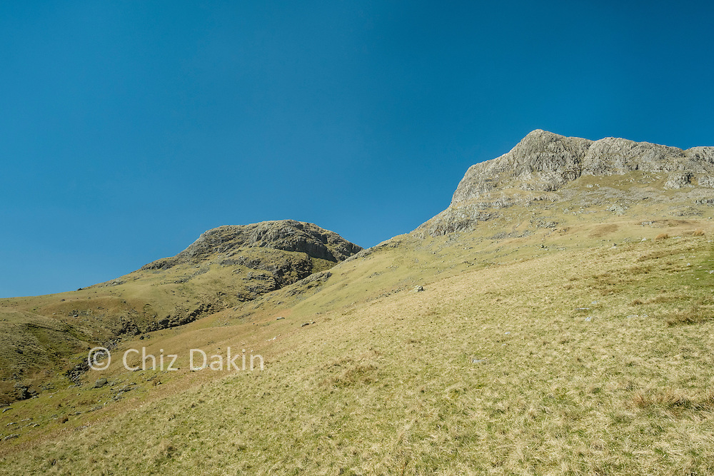 You can see the meaning of stickle as a sharp rocky peak in Harrison Stickle (right) with Thorn Crag (left) looking like it's also challenging for a Stickle name!