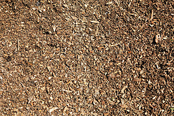 Close up of shredded green waste to be used on top of soil in landscape gardening to avoid weeds,
