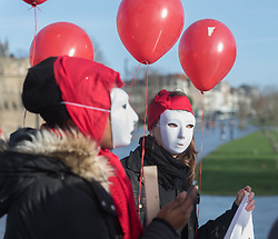 December 17, 2018 - Nantes, France - On the occasion of the international day against violence against sex workers, the Nantes association of self-support Paloma on 17 December 2018 organized a walk across the city to raise awareness about the deterioration of working conditions prostituted persons since the entry into force of the law penalizing their clients in 2016.The association Paloma calls for the repeal of the latter which is also the subject of a priority question of constitutionality following the request of 9 associations including Médecins du Monde and Strass  (Credit Image: © Estelle Ruiz/NurPhoto via ZUMA Press)