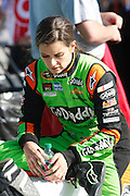 Danica Patrick waits for qualifying to begin for a NASCAR Sprint Cup series auto race, Friday, May 9, 2014, at Kansas Speedway in Kansas City, Kan. (AP Photo/Colin E. Braley)