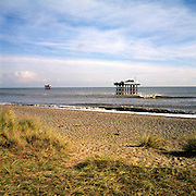 Sandy beach and water intake and outflow platforms for the nuclear power station, Sizewell, Suffolk, England