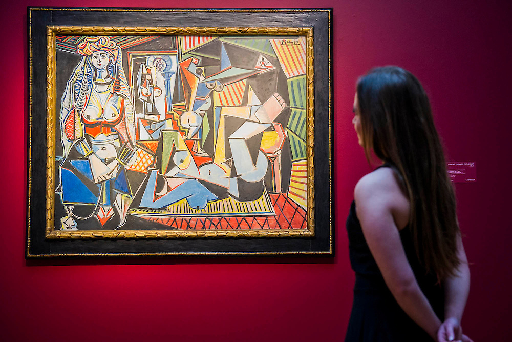 """Les femmes d'Alger (Version """"O""""), 1955, by Pablo Picasso (1881-1973), estimate $140million - Preview of almost fifty works from Christie's spring sales in New York of Impressionist, Modern, Post-War And Contemporary Art. The most expensive work is . Other highlights include: Pablo Picasso (1881-1973), Femme à la résille, 1938 (est $55 million); Mark Rothko (1903 -1970), No. 36 (Black Stripe), 1958 (est: $30-50 million); Andy Warhol (1928-1987), Colored Mona Lisa, 1963 (est $40 million); Claude Monet (1840-1926), Le Parlement, soleil couchant, 1902 (est: $35-45 million); Jean Dubuffet, Paris Polka, 1961 (est $25 million); Piet Mondrian (1872-1944), Composition No.III (Composition with Red, Blue, Yellow and Black), 1929 (est: $15-25million); and Amedeo Modigliani (1884-1920), Portrait de Béatrice Hastings, 1916 (est $7-10million) from the Collection of John C. Whitehead. The works will be on view to the public from 11 to 16 April at Christie's King Street, London."""