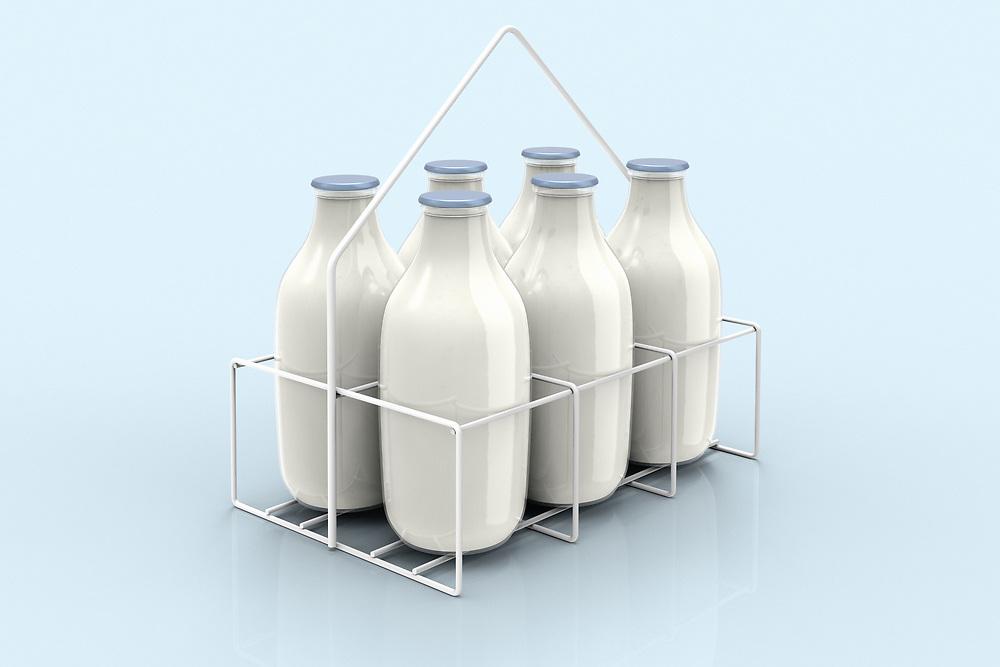 3D rendering of milk bottles for delivery