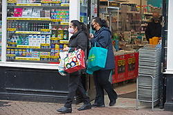 © Licensed to London News Pictures 16/02/2021.        Dartford, UK. Shoppers out and about in Dartford town centre in Kent today during a third national coronavirus lockdown. Non-essential shops could open in weeks if the Covid-19 infection rate keeps dropping. Photo credit:Grant Falvey/LNP