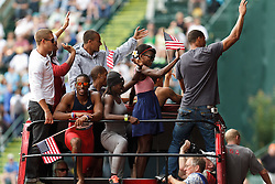 Olympic Trials Eugene 2012: Olympians ride double-decker bus around track, Eaton, Montano, Bailey, Symmonds, Young,
