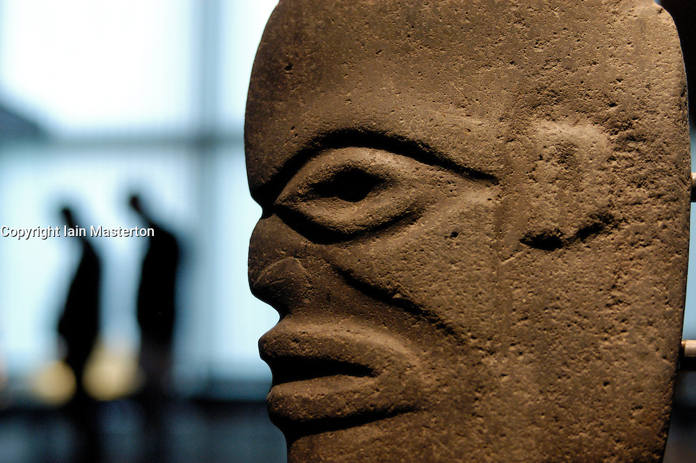 Carved stone Mayan head on display at famous Ethnological Museum in Berlin