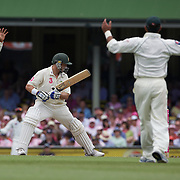 Michael Hussey is dropped by wicket keeper Kamran Akmal off the bowling of Danish Kaneria during the Australia V Pakistan 2nd Cricket Test match at the Sydney Cricket Ground, Sydney, Australia, 5 January 2010. Photo Tim Clayton
