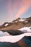 Alpenglow over Wing Lake, North Cascades Washington